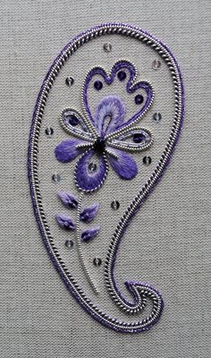 Items similar to Decorative Silver Paisley Embroidery Kit on Etsy Paisley Embroidery, Diy Broderie, Embroidery Suits Design, Gold Embroidery, Hand Embroidery Stitches, Hand Embroidery Designs, Embroidery Kits, Learning To Embroider, Crafts