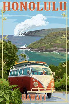 North Shore, Hawaii - Surf's Up - VW Van Coastal - Lantern Press Artwork Giclee Art Print, Gallery Framed, Silver Wood), Multi Surf Retro, Vintage Surf, Vintage Hawaii, Hawaii Volcanoes National Park, Volcano National Park, Volkswagen, Vw Bus, Illustrations Vintage, Hawaiian Art