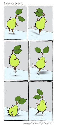 Figure Skating Pear: Pearseverance Olympic comic / pun about perseverance.