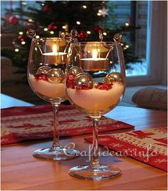 Christmas Table Decoration  Tealight Candle Glasses