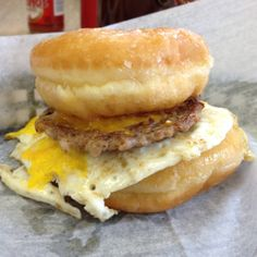The donut breakfast sandwich at Honey Dip Donuts & Diner, Columbus, OH. Two glazed yeast donuts, fried egg, cheese, sausage patty.