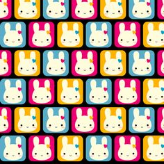 Kawaii Bunny Squares (Black) fabric by marcelinesmith on Spoonflower - custom fabric