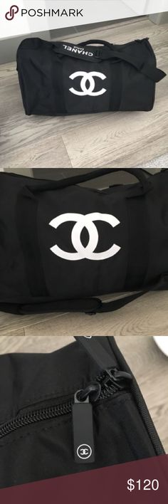 Chanel Black and White VIP Duffle/Gym Bag NEW Brand new in bag, this is an authentic Chanel VIP gift. About 18x12x8 inches. Detachable shoulder strap as well as handles for carrying. Sturdy bag. CHANEL Bags Travel Bags