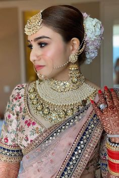 Latest Bridal Necklace Designs trending in 2020 - Witty Vows Bridal Lehngas, Bridal Chura, Indian Bridal Outfits, Indian Bridal Makeup, Asian Bridal Jewellery, Wedding Jewelry, Asian Wedding Dress, Wedding Dresses For Girls, Bride Reception Dresses