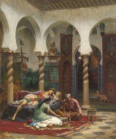 Algérie  -  Peintre American  Frederick Arthur Bridgman(1847-1928), huile sur toile, Titre : Dans  la cour