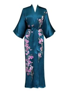 Teal Silk hand-painted Cherry Blossom Kimono - instead of a white robe, I'd love to get ready in THIS on my wedding day!!!  Splurge?