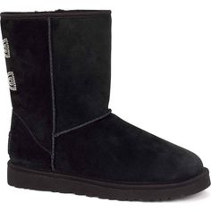 UGG Australia Women's Classic Short Crystal Bow Black Boots ($220) ❤ liked on Polyvore featuring shoes, boots, ankle booties, ankle boots, black, lightweight hiking boots, black ankle bootie, black ankle booties and bootie boots