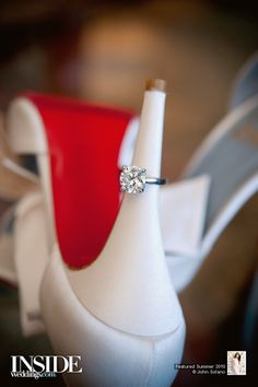 Wedding Style: Christian Louboutins   InsideWeddings.com - Nevermind the white Loubouies, check out that large solitaire?! Very, very nice. ^_~
