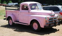 A Vintage Pink Dodge Pickup Truck Vintage Pickup Trucks, Old Pickup, Classic Chevy Trucks, Classic Cars, Dodge Pickup, Antique Trucks, Pickup Camper, Chevy 4x4, Classic Style