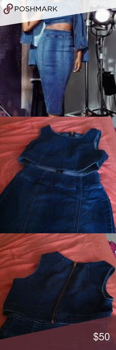 New York & Co. 2 piece set Denim two piece set with gold zippers. Top size M has a gold zipper in the back. Pencil skirt size 6 still has tag with gold zipper in the back. Never worn just tried on. Tag on skirt, but not on top. New York & Company Jeans