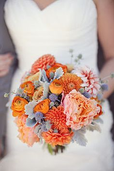 Orange, peach & grey wedding flower bouquet, bridal bouquet, wedding flowers, add pic source on comment and we will update it. www.myfloweraffair.com can create this beautiful wedding flower look.