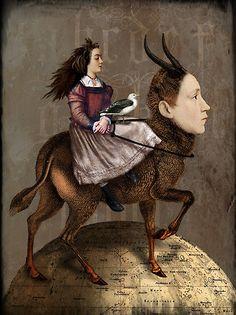 Digital art (mixed media) The story-teller, Catrin Welz-Stein