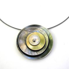 Necklace |  Lisa Crowder.  multi dish pendant.  matte & oxidized sterling silver with 18k gold bi-metal