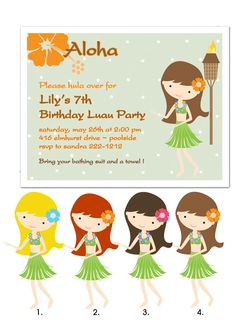 Luau Hawaiian Pool Party Printable DIY by EclecticNoteCards