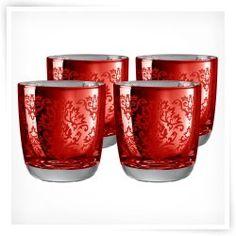 Artland Inc. Red Brocade DOF Glasses - Set of 4