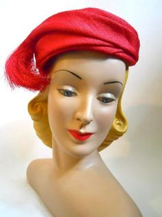 Red Red Fringed Swirl Hat circa 1960s