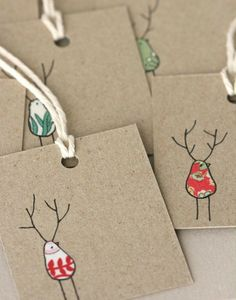 DIY Christmas gift tags using recycled fabric scraps & a Sharpie marker!
