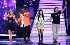 wesome Foursome  Mariah Carey, Randy Jackson, Nicki Minaj and Keith Urban onstage at FOX's American Idol Season 12 Top 4 to 3 Live Performance Show in Hollywood, CA.