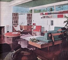 1954 Mid Century   Modern Living Room. Love the sofa with built in side table and that round seat.