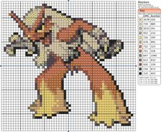 Pokemon - Blaziken by Makibird-Stitching on DeviantArt Pokemon Charmander, Pokemon Pokedex, Hama Beads, Pokemon Perler Beads, Cross Stitch Designs, Cross Stitch Patterns, Cross Stitching, Cross Stitch Embroidery, Pixel Art