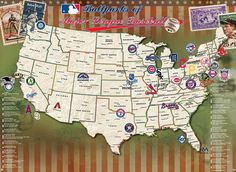 On a quest to visit all 30 MLB stadiums? This unique baseball map poster set displays all the major league baseball stadiums (past and present) throughout the c
