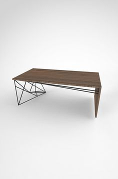 Solid Walnut Coffee Table with Welded Steel Base. by PWHFurniture
