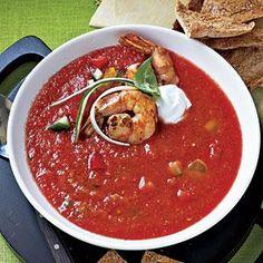 Chunky Gazpacho with Sautéed Shrimp | MyRecipes.com