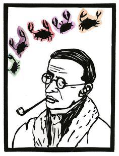 original linocut block print  Jean Paul Sartre et by joannaeswan