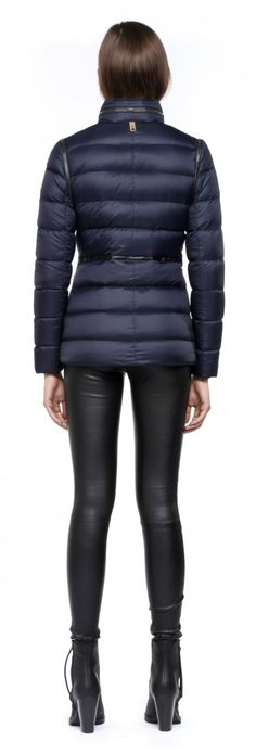 Mackage - IRMA-F4 INK LIGHT WINTER DOWN JACKET FOR WOMEN WITH LEATHER TRIMS