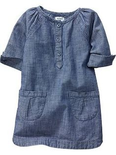 Chambray Shift Dress with plaid tights or leggings for family pictures