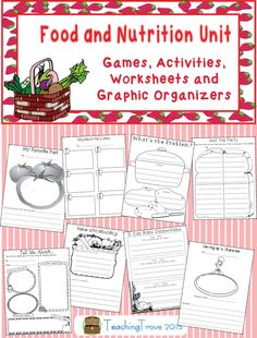 Food and nutrition is a fun unit to teach. This pack contains food themed literacy games, activities, worksheets and graphic organizers to use with any food based fiction or non-fiction book. Reinforce the five food groups with posters and an individual workbook for your students. Encourage their writing by having them interview a piece of fruit or make a 'not wanted' poster for an unhealthy food. There is so much to do in this unit!