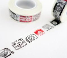Red and Black Cameras - Travel Journal Washi Tape. The perfect washi tape for decorating your travel scrapbooks and journals. Great for camera buffs and shutterbugs!