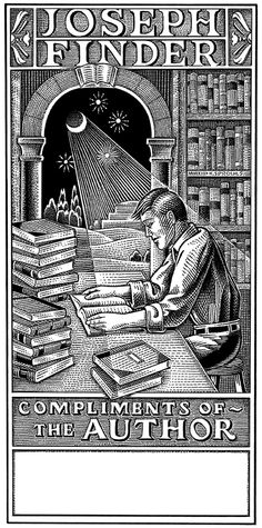 Kevin Sprouls: Ex Libris Joseph Finder Ex Libris, White Pen, Black And White, Free Stuff Canada, Rockwell Kent, Scratchboard, Inspirational Books, Color Card, Funny Pictures