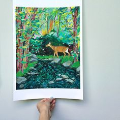 Enchantment art print, forest, woodland, deer, painting, trees, nature,  13 x 19 by CathyMcMurray on Etsy
