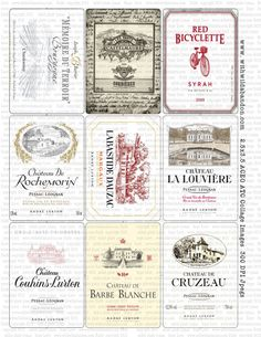 Vintage French Wine Labels Clipart  in ACEO   by With Wild Abandon, vintage…