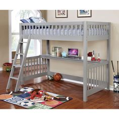 Furniture of America Watsor Contemporary Grey Twin Loft Bed with Workstation