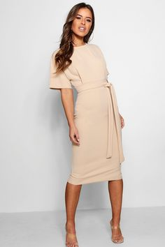 dress For Work petite - Petite Tie Waist Formal Wiggle Midi Dress Classy Dress, Classy Outfits, Beautiful Outfits, Cute Outfits, Ropa Semi Formal, Dress Outfits, Fashion Dresses, Woman Dresses, Dress Clothes