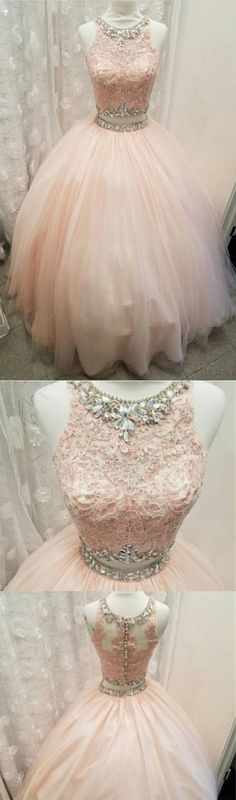 light pink tulle ball gowns quinceanera dress,two piece quinceanera
