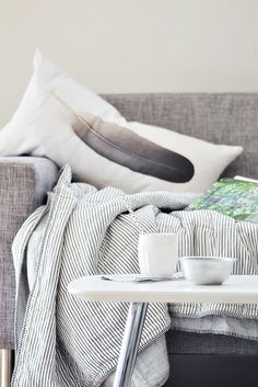 Feather Pillow and Cosy Grey... Possible grey for bench cushions?
