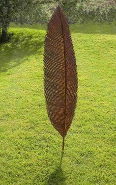 Mild steel Flat, or Thin or Two Dimensional or Statues sculpture by artist Peter M Clarke titled: 'Feather Form lX (Big Metal Feather sculpture)' £800 #sculpture #art