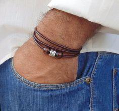 Mens Leather Bracelet  Triple Wrap  Brown Bracelet   Handmade Surfer Style   #Handmade #Surfer