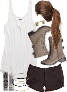 Aerie henley top / Forever 21 denim short shorts / Faux boots / Alexandra Beth Designs stud earring set / ASOS bracelet jewelry, $20 / L Erickson hair accessory / Korres lip treatment, $13