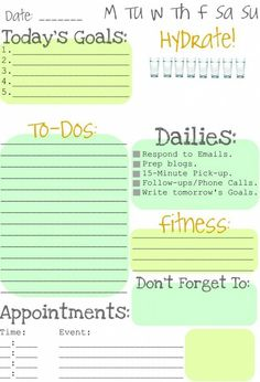 Daily to-do print out
