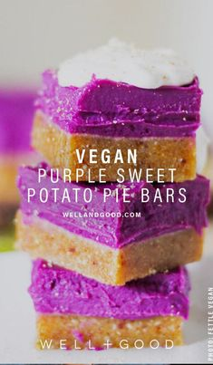 Vegan Sweet Potato Pie Bars Purple sweet potatoes give these dessert bars both a beautiful, vibrant color and a boost of healthy nutrients. Vegan Sweet Potato Pie, Sweet Potato Dessert, Sweet Potato Recipes, Sweet Potatoe Pie, Purple Potato Recipes, Sweet Potato Cookies, Sweet Potato Brownies, Superfood Recipes, Vegan Dessert Recipes