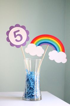 Hey, I found this really awesome Etsy listing at https://www.etsy.com/listing/217423386/rainbow-party-centerpiece-2-pieces