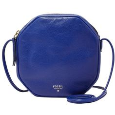 Fossil Jules Octagon Leather Crossbody Zb6789439 Color: Sapphire (£67) ❤ liked on Polyvore featuring bags, handbags, shoulder bags, blue leather purse, leather crossbody, crossbody shoulder bags, leather crossbody handbags and leather cross body purse