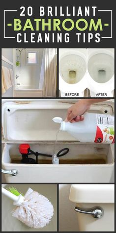 Bathroom Cleaning Tips and Tricks: Your Least Favorite Chore Just Got Easier - Cleaning Hacks Deep Cleaning Tips, House Cleaning Tips, Diy Cleaning Products, Cleaning Solutions, Toilet Cleaning Tips, Clean House Tips, Spring Cleaning Tips, Baking Soda Cleaning, Diy Home Cleaning