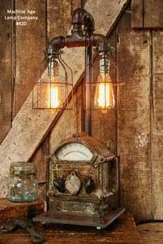 Steampunk Lamp, Antique Steam, Ship, Nautical, Light #420