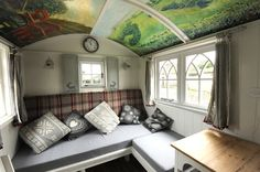Shepherds Hut Interior Plans For Holidays 99 Ideas You Should Try Gypsy Caravan, Gypsy Wagon, Vintage Caravan Interiors, Self Build Houses, Cool Tents, Shepherds Hut, Little Houses, Small Houses, Tiny Spaces