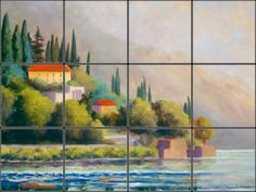 Lake Como Tile Mural for Italian kitchen backsplash remodel